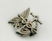 World War II US Navy Caduceus Anchor Medic Pin Signed Sterling By Blackinton