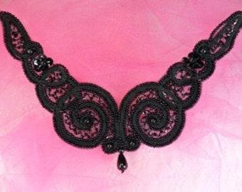 "FS228 Black Beaded Collar Applique 6""   (FS228-BK)"