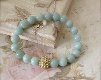 Amazonite Stretch Bracelet Blue Bangle Bracelet Bead Bracelet Crystal Energy Winter Sale