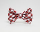 Plaid Dog Bowtie- Red White and Brown Plaid