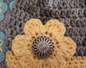 Womans Gray Beanie Hat - Hand Crocheted