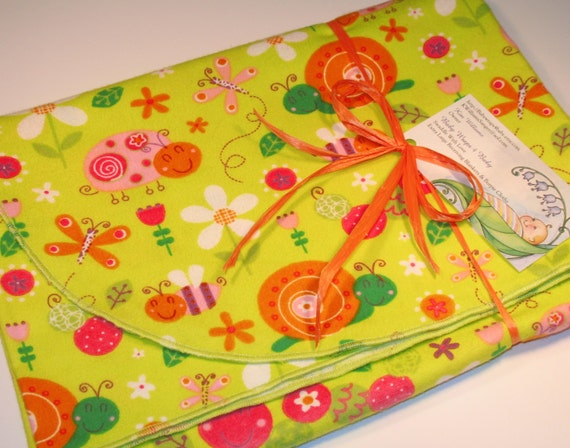 Extra Large Cutie Bugs Flannel Receiving by BabyWraps4Baby