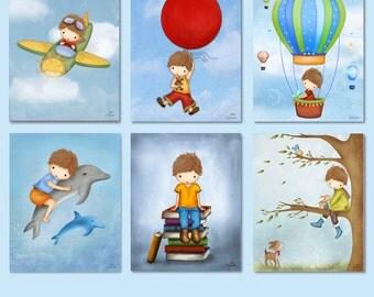 Boys room art,kids wall art,childrens room decor,set of six posters,boy nursery wall art,art for boys room,print illustrations,boys wall art