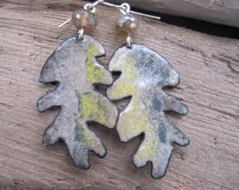 Soft Gray Enamel Earrings Enameled Copper Jewelry Leaf
