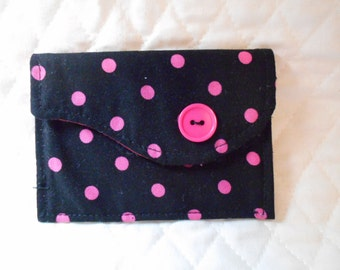 Black with Pink Polka Dot Rewards Card /  Business / Credit  Card / Debit  Mini Case Holder with Velcro  Closure