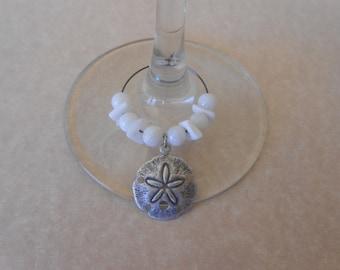 Sand Dollar Wine Glass Charms-Set of 2