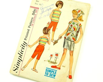 Vintage 1960s Girls Size 10 Blouse, Scarf and Pants in Two Lengths Simplicity Sewing Pattern 5466 / Complete