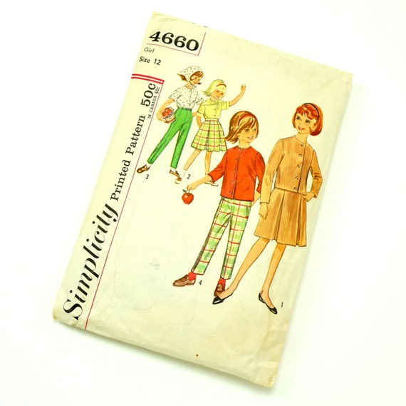 Vintage 1960s Girls Size 12 Skirt, Blouse, Pants, and Scarf Simplicity Sewing Pattern 4660 / bust 30 waist 25 / Complete