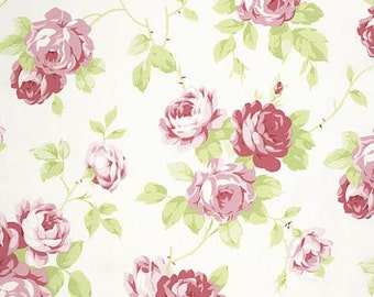Lulu Roses Fabric From Tanya Whelan 92 Bunches of Rose Roses Floral Flowers on White