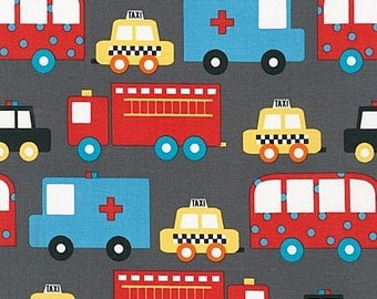 Matches TULA Baby Carrier Look for Helpers Ready Set Go 2 Fabric by Ann Kelle for Robert Kaufman Retro Taxi Ambulance Cars on Gray Grey