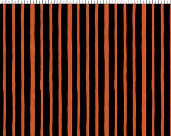 Witchful Thinking Fabric by Clothworks Halloween Orange Stripe Stripes on Black