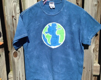 Batik Earth Shirt (M), Earth Day Shirt, Adult Earth Shirt, Ladies Earth Shirt, Mens Earth Shirt, Planet Earth Shirt
