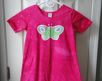 Girls Butterfly Dress, Butterfly Girls Dress, Pink Butterfly Dress, Batik Butterfly Dress, Pink Girls Dress, Short Sleeve Girls Dress (8)