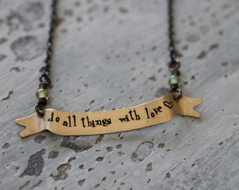 banner necklace, hand stamped, personalized, brass banner with words or names, dates, latitude and longitude