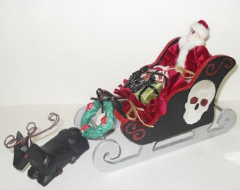 Skeleton Santa and Sleigh - Gothic Christmas Decor - Creepmas - Dark Christmas Home Decor - Christmas In July