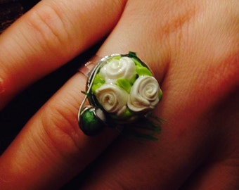 Hand sculpted White Rose Bouquet Silver Adjustable Ring