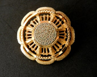 1950 Sphinx flower brooch - refined beauty of gold and crystals - brooch numbered - art.569/3 -