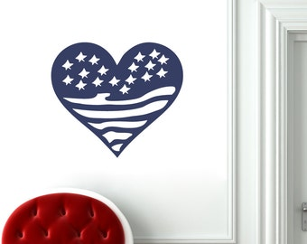Heart Flag - Patriotic Wall Decals