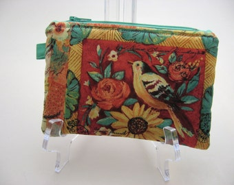 Aqua and Coral Birds Small Zipper Pouch,  Cell Phone Case, Grab and Go Wallet, Ready to ship