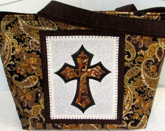 Black and Brown Gothic Cross Large Tote Bag Damask and Paisley Purse Ready To Ship