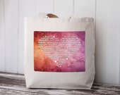 LOVE Languages - Watercolor Collection: SUNRISE - Tote Bag - Natural Canvas Bag - School Bag