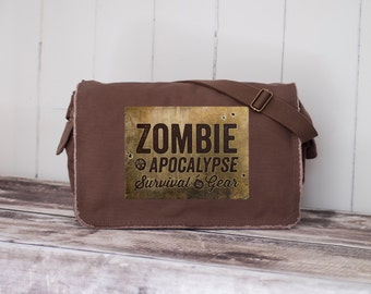 Zombie Apocalypse Survival Gear  - Messenger Bag - School Bag - Java Brown - grunge canvas image transfer - Canvas Bag