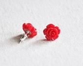 Cherry Rose Floral Post Earrings - Sterling