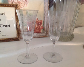 Beautiful Antique Etched Toasting Glasses Champaign Wedding Gift
