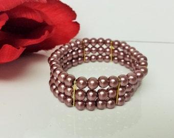 Antique Mauve Pearl Bridesmaid Bracelet - Triple Strand Pearl Bracelet - Triple Row Mauve Bracelet - Prom Stretch Bracelet