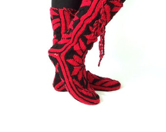 Christmas Gift, Long Slippers, Warm Slippers, Mukluk, Leg Warmers