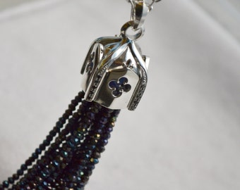 Sterling silver Gothic tassel, quatrefoil tassel, silver tassel, gifts for her,