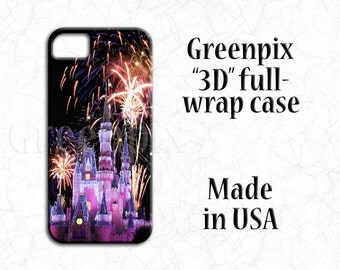 Disney Samsung Galaxy S6 S7 S5 S4, iPhone 7 case, 3D full image wrap, princess Cinderella castle, fireworks, i Phone 4 4s, 5, 5s, 5c, 6 Plus