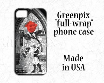 Disney Galaxy S6 case, Beauty and Beast wedding, iPhone 6 7 Plus cover, red rose, black and white, Belle, stained glass mosaic, minimalist