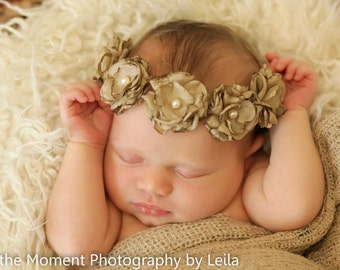 Taupe HALO Baby Band---Flower Halo Band----Photography Prop---Halo Headband---AVAILABLE in other Colors