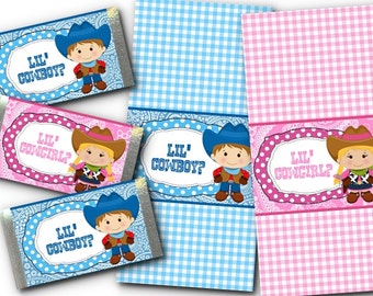 36 Mini Candy Wrappers, Baby Gender Reveal Party, Baby Shower, Western Theme, Cowboy, Cowgirl