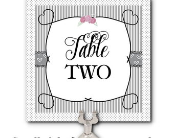 Table Number Cards, Food Labeling Cards, Grey stripes and Hearts, Roses, Wedding, Bridal Shower, Baby Shower, Birthday