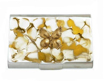 Butterfly Large Metal Card Case Hand Painted Enamel Gold and White Quartz Inspired Metal Wallet Custom Colors and Personalized Options