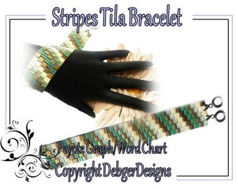 Stripes Tila Bracelet - Beading Pattern Tutorial