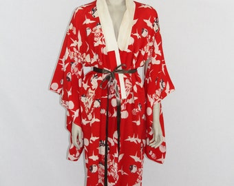 1950s Vintage Rayon Robe  -  Lounge Wear - Japanese Kokeshi Dolls Origami Cranes and Mums Novelty Print Robe