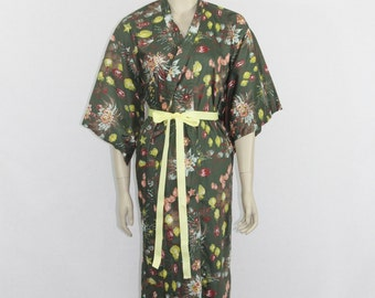 Vintage Robe  - Cotton Japanese Lounge Robe - Lanterns Star Burst Fireworks and Flowers