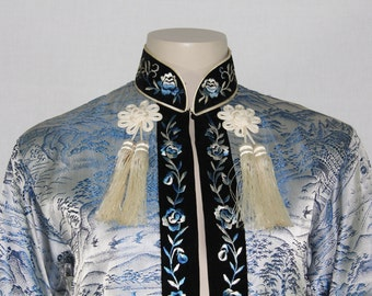1960's Vintage Short Coat - Asian Blue Brocade Silk with Japanese Houses Rivers Bridges Mount Fuji and Birds - 38 Bust