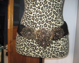 Jeweled Buckled Suede Sash Belt   80's fashion Belt