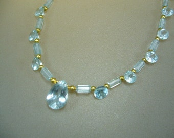 18k Solid Gold Swiss Blue Topaz Necklace