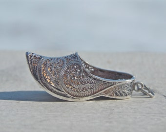 Vintage Silver Aladdin Slipper Charm Arabian Nights, Elfish Size