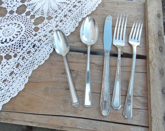 Mismatched Flatware Silverplate One Place Setting Antique Tarnished Flatware Wedding Mixed set