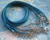 15pcs 1.5mm 16-18 inch adjustable dark blue korea wax string snake necklace cords