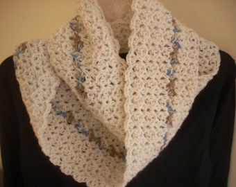 Infinity 1-2-3 scarf-aran with accent stripe