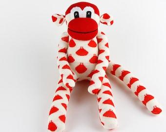 New Baby New Year Gift for Babies Handmade Original Sock Monkey Stuffed Animal Doll Baby Toys