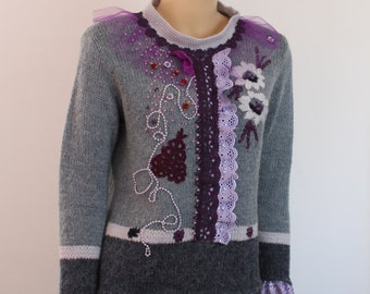 Blue Lilac Violet  Altered  Chic Boho Gypsy Beaded Embroidered Chunky Wool Sweater - Long  Sleeves Size L/XL