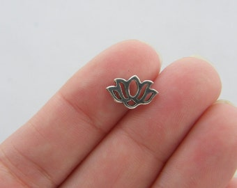 14 Lotus flower charms 12 x 8mm antique silver tone F76